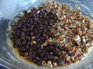 yin yang of chocolate and pecans