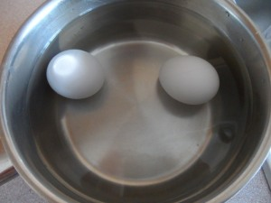 Eggs in the pan + water