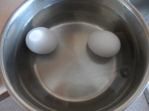 Eggs in the pan + water