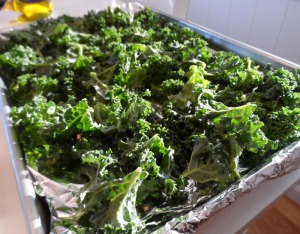 Place the kale on the tray