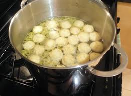 Matzah balls cooking