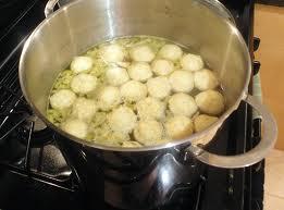 Matzah balls cooking
