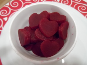 Guess what these are? Beets cut into hearts...wait for it...Heart Beets