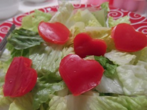 Salad with Red Pepper Hearts